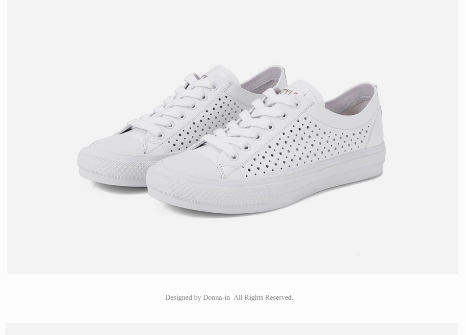 Donna-in 2019 New Women Flats Sneakers Genuine Leather Shoes Lace-up Cut-outs Flat Casual Women Shoes Hollow Summer Black White (20)