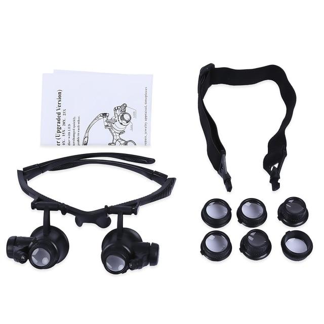 65a1ae62c0a9c Headband 10X 15X 20X 25X LED Luz Óculos Lupa Relojoeiro Ferramentas De  Medição Jóias Lupa Lupa