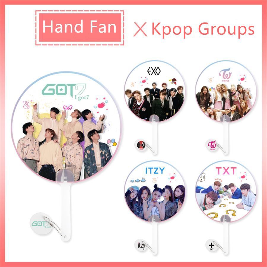 Kpop GOT7 EXO Clear PVC Hand Fan Summer Gift TXT ITZY Twice Protable HD Photo Hand Fan Fan Gift