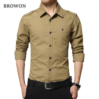 2016 Spring Autumn Men S Dress Shirt Fashion Full Sleeve Shirt Military Style 100 Cotton Army