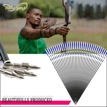 24 30inch High Quality Aluminum Carbon Arrow Blue Turkey Feathers 20-50lb Recurve Bow Hunting Archery Arrow