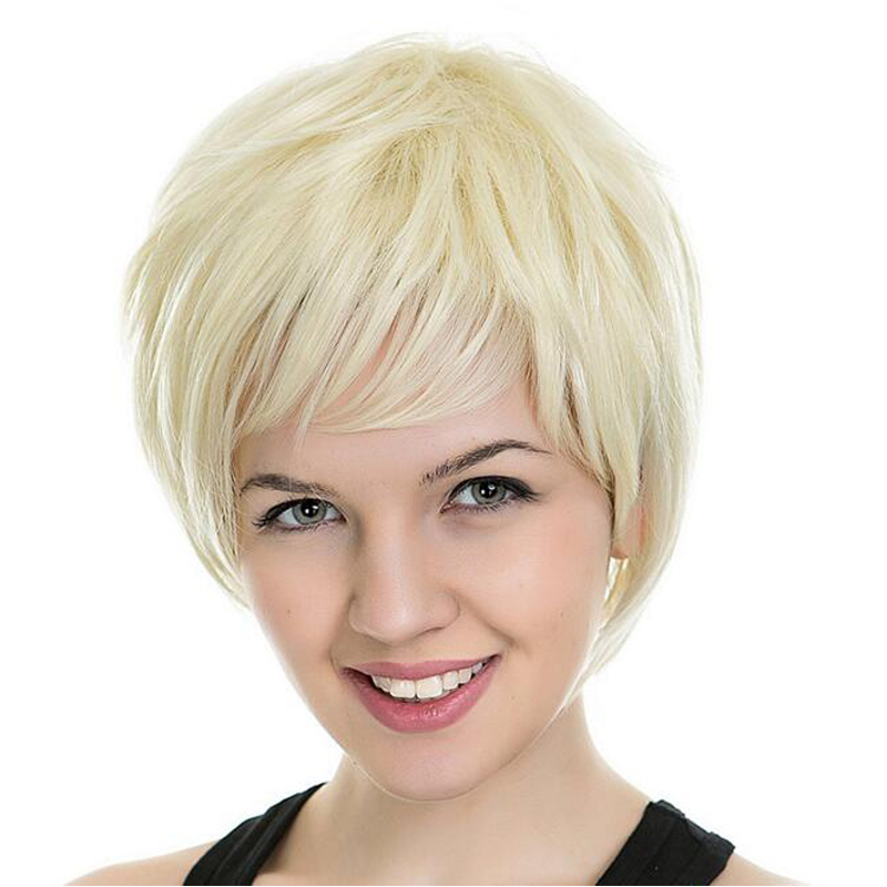Medusa hair products  Beautiful womens cut Short pixie wigs for women  Straight style Synthetic Blonde wig with bangs Two color 92ca7d8a9