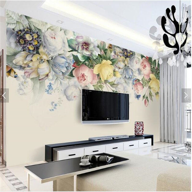 Beibehang 3d Custom Photo Wallpaper Wall Murals Wall Stickers Hand Painted  Retro Roses TV Background 3d Pictures