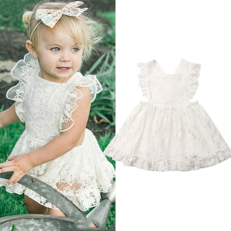 Pudcoco 2019 Summer Solid White Kids Toddler Baby Girl Lace Party Princess Tutu Dress Holiday Sundress Casual Clothing