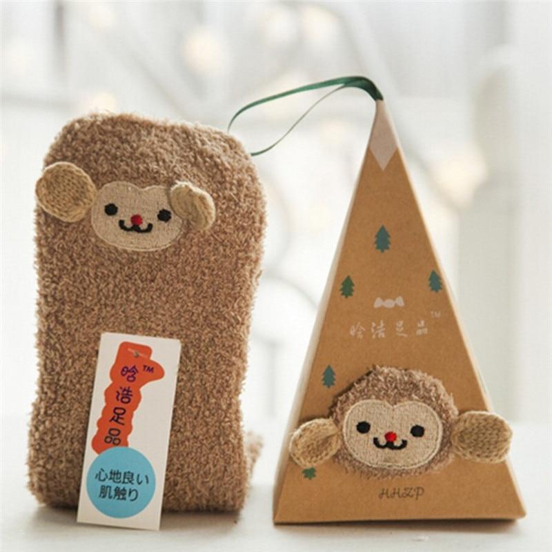 Orderly Cute Cartoon Christmas Socks Christmas Gift Monkey Coral Fleece Warm Fuzzy Room Sock Sleep Sock Good Christmas Gift Agreeable Sweetness Socks Underwear & Sleepwears