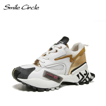 Smile Circle Women Sneakers Flat Platform shoes Genuine Leather Breathable casual Ladies sneaker 2019