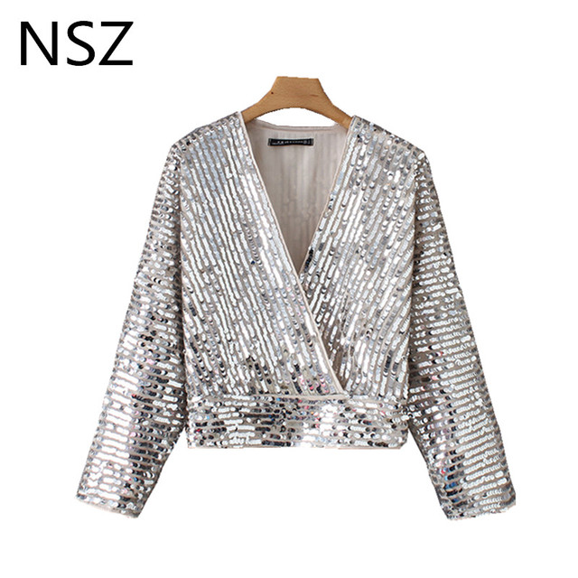 09c3fad273 US $15.89 5% OFF|Women Sequin Kimono Blouse Shiny Silver Crop Top Cross V  Neck Long Sleeve Shirt Fashion Sparkl Blusas Mujer Party Club Clothing-in  ...