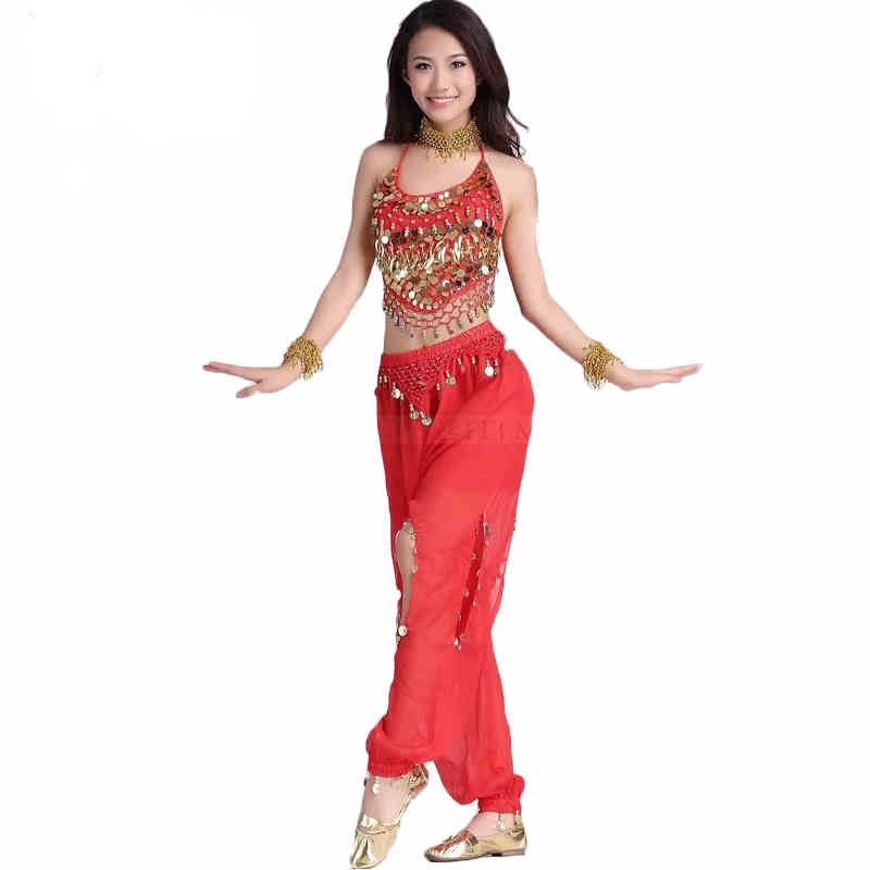 2pcs Set Coin Egypt Belly Dance Costume Indian Triba Pant Gypsy  Costume Bellydance Dress Women Belly Dancing Costume Set