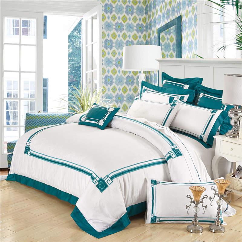 Белый комплект постельных принадлежностей king size египетского постельные принадлежности хлопок роскошь вышитые пододеяльник сатин постель