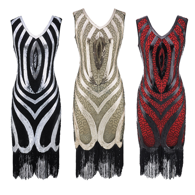 Femmes 1920 s Vintage Perles Sequin Feux D'artifice Fringe Aileron Robe Partie Robe Roaring 20 s Great Gatsby Robe V-cou Gland 2018