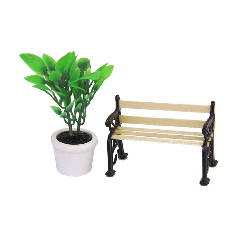 Green Plant in a Pot and Wooden Garden Bench Dollhouse Miniature Black Metal Park