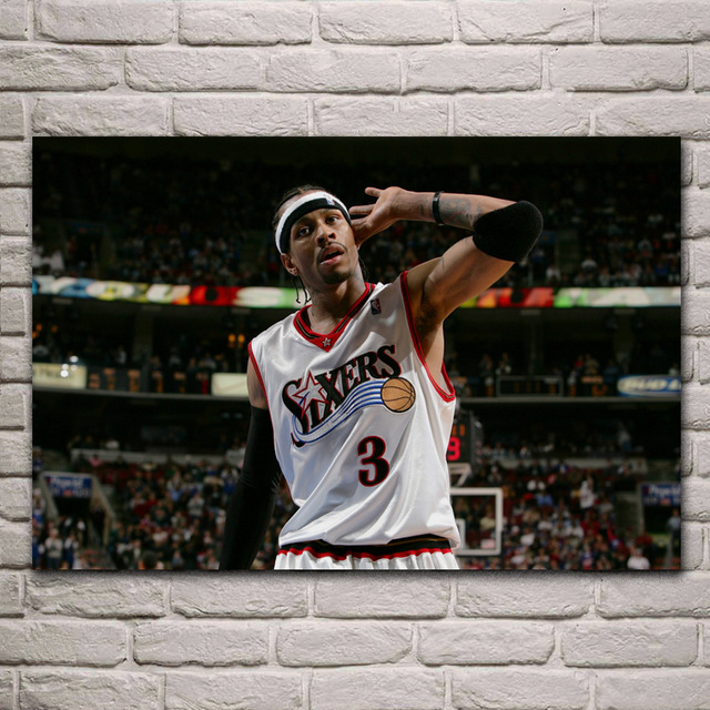 4a8198b18 Allen Iverson Basketball Philadelphia Living room bedroom home wall  decoration fabric poster EX535