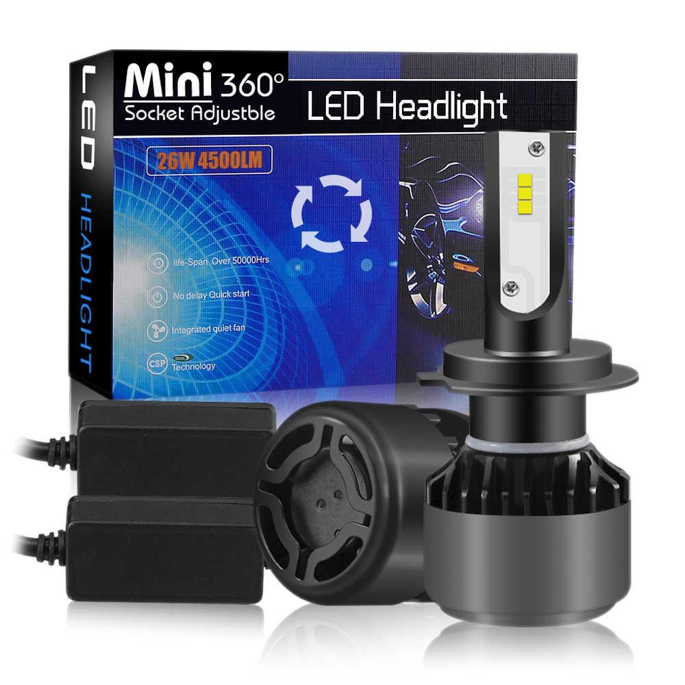 Car headlight Mini Lamp 2PCS H4 LED H7 Bulbs H1 LED H8 H11 Headlamps 9005 HB3 9006 HB4 6500K CSP Fog light 12V LED Lamp 12000LM