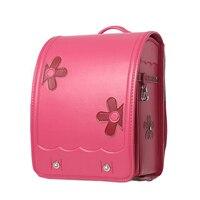 Брендовые детские розовые школьные сумки с цветами, ортопедический детский школьный рюкзак из искусственной кожи для девочек, школьные сум