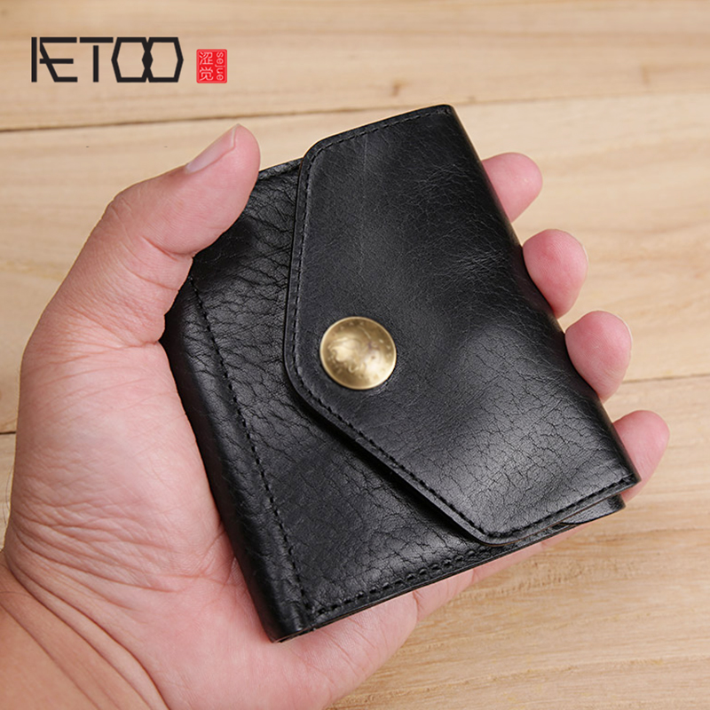 AETOO Retro leather Men s small wallet wash wrinkle effect casual money chuck layer cowhide Youth