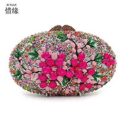 XI YUAN BRAND women New fashion luxury oval full diamond crystal purse female flowers evening bag lady Day Clutches Minaudiere