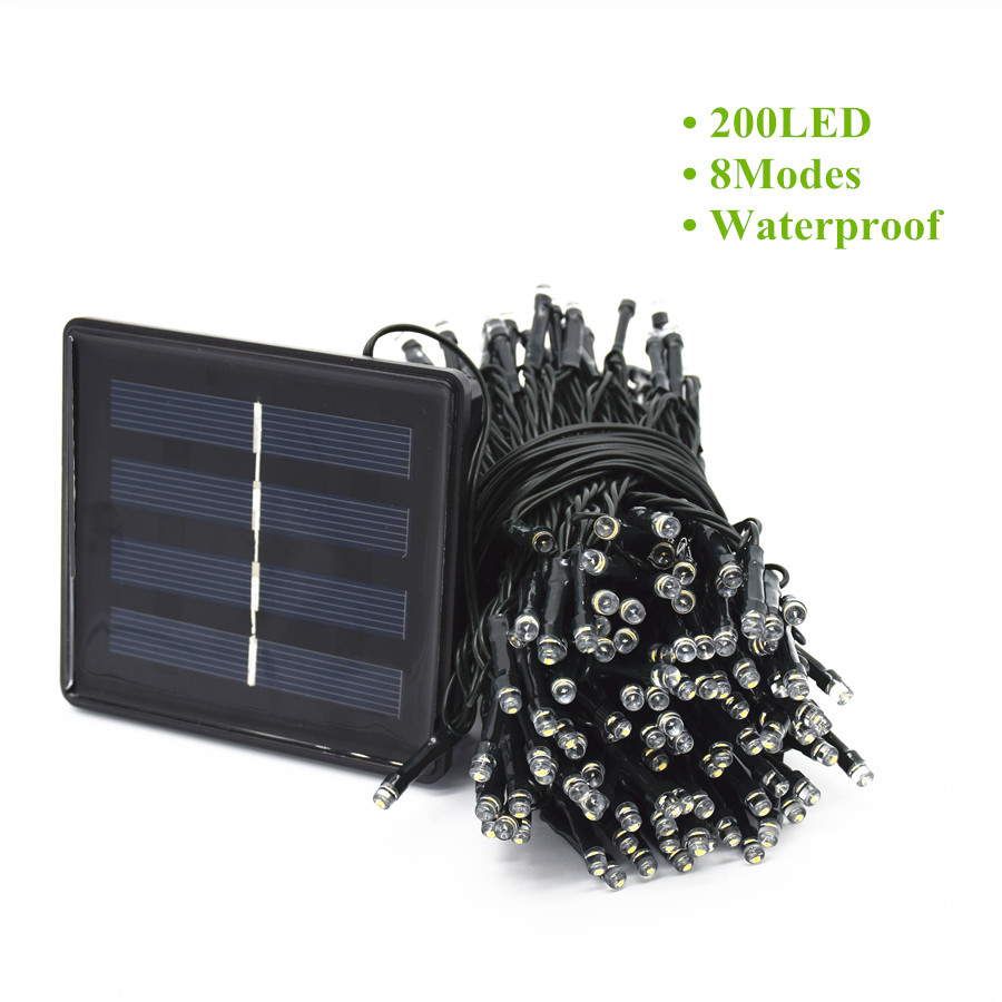 Waterproof 200 LED 8 Modes Solar Fairy String Lights With Panel For Outdoor Christmas Garden LED String Solar Light 20 Meters ledniceker multi colored solar led string lights with garden solar panel for garden patio christmas tree parties and all outdoor and indoor activities decoration 4 8 meters long 20 waterproof bulbs