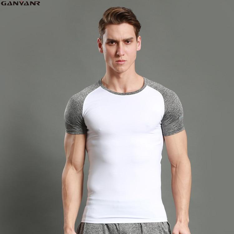 GANYANR Meias De Compressão de Corrida Da Marca T Shirt Dos Homens Do Esporte Terno Sportswear Spandex Dry Fit Manga Curta de Treinamento Atlético Ginásio