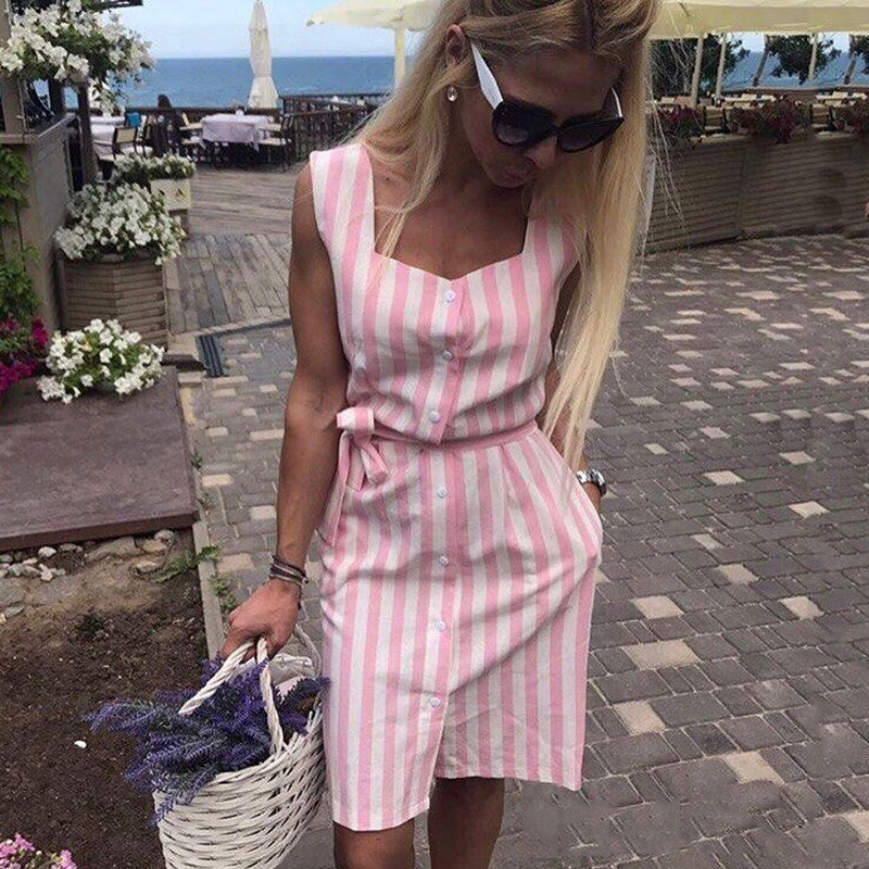Vestido de verano 2018 nueva llegada Camisa sin mangas ocasional de las mujeres Mini vestido cinturón Stripe Vintage playa Vestidos