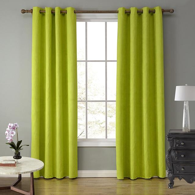 Lujo Europa verde sólido Cortinas para sala dormitorio Cortinas ...