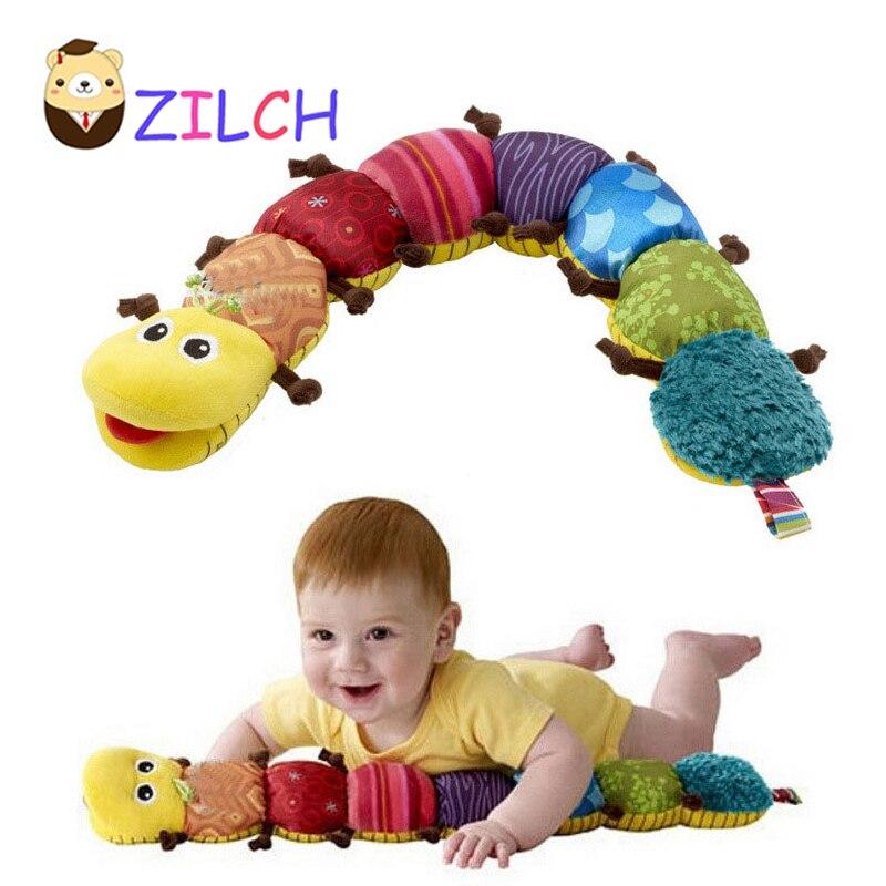 Новый Игрушки для маленьких детей музыкальный вещи caterpillar с кольцом колокол милый мультфильм животных плюшевые куклы раннего обучения обра...