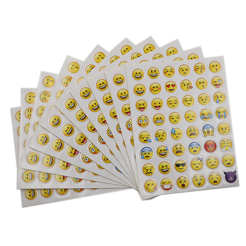 10 Sheets 48 Stickers Hot Popular Sticker 48 Different Emoji Smile Face Stickers For Notebook Fun Message Twitter Large TS0019 new cute head portrait sticker smiling face interesting smile face stickers children kids toy for phone notebook message twitter