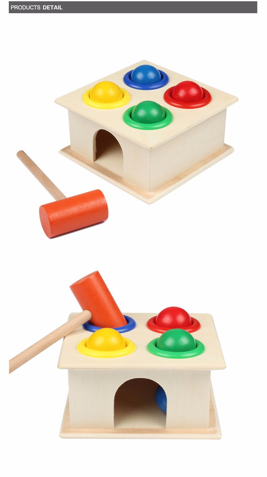 Newborn Colorful Hammering Wooden Ball Hammer Box Geometric Blocks Kids Early Learning Educational Toys Children Gift Toy 3