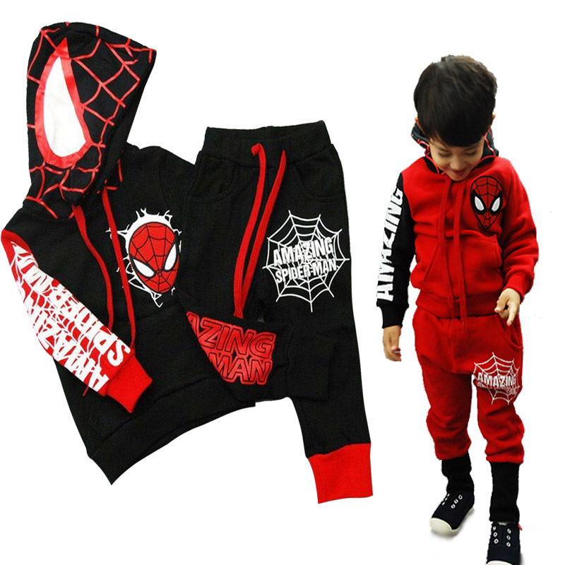 Hooded Spiderman Kids Clothes Boys Sets for Autumn Winter Children Clothing Set Toddler Boy and Girl Tracksuit Cotton Suits 2Pcs 2015 new autumn winter warm boys girls suit children s sets baby boys hooded clothing set girl kids sets sweatshirts and pant