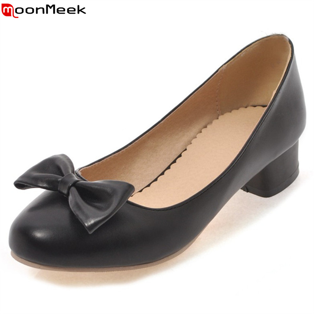 MoonMeek summer spring med heel women pumps round toe shallow slip on with butterfly knot square heels female shoes 2017 spring women retro pumps solid slip on sweet butterfly knot round toe med square thick heels shallow female shoes plus size