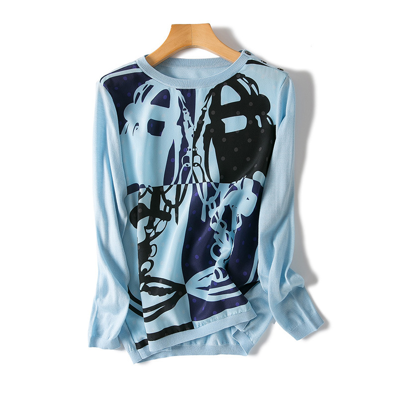 2018 frühen herbst neue frauen high end boutique positioning druck seide nähte lange ärmeln hemd-in Blusen & Hemden aus Damenbekleidung bei  Gruppe 1