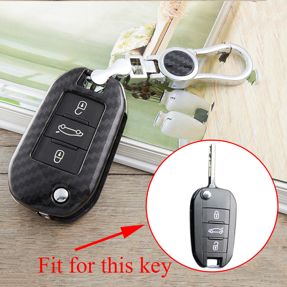 Carbon Fiber Texture Key Fob Case Holder Bag Cover Fit For Peugeot <font><b>Citroen</b></font> <font><b>C4</b></font> C3-XR C-Elysee <font><b>2016</b></font> 2017 2018 Accessories Decorate image