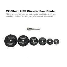 6 шт./компл. HSS пильный диск для вращающихся инструментов 22-50 мм резьба по дереву диски, лезвия с отделкой кристаллами оправка для Dremel резак по металлу
