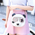 3D-Panda Japanese Korean Style White Circular Fashion Faux Leather PU For Women's Handbag Messenger Appliques Solid Bags Totes