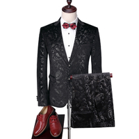 2018 new arrival slim fit men printing suit set 2 pcs Tuxedo Mens Suits for wedding mens groom formal blazer with pant
