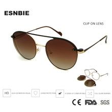ESNBIE Alloy Eyeglasses Frame Women Round Glasses With Clip On Sunglasses Prescription Men Korean Eyewear