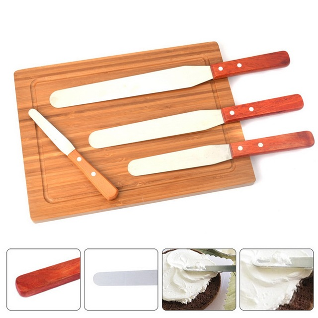 Hoomall 4/6/8/10inch Kitchen Pastry Cake Decoration Tool Stainless Steel Cake Spatula Butter Cream Icing Frosting Knife Smoother