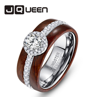 JQUEEN Exquisite Tungsten carbide Acacia Rings For Men wedding bands jewelry 925 Silver Polished Koa Wood Rings US size 5 10