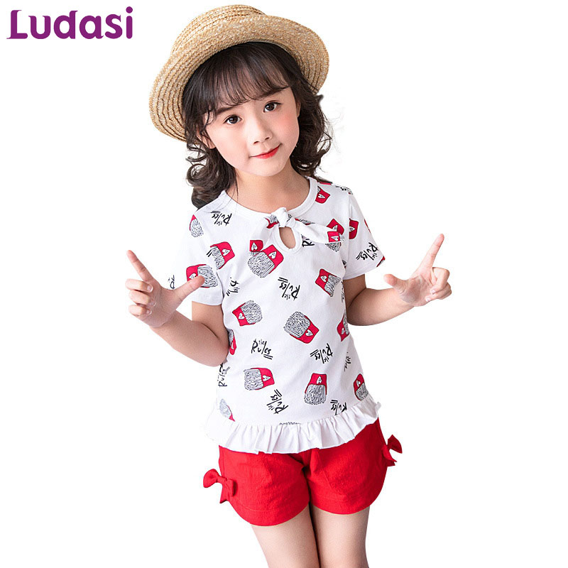 Girls' Clothing Girls Letter Printed Striped 2pcs Sets Children O-neck Short Sleeve T-shirt+half Pant Two Pieces Sets Students Kids Sets Clothes Handsome Appearance