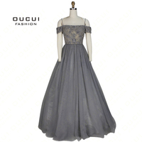 Real Photos Backless Long Evening Dress Tulle Formal Handmade Crystal Ball Gown Boat Neck Spaghetti Strap