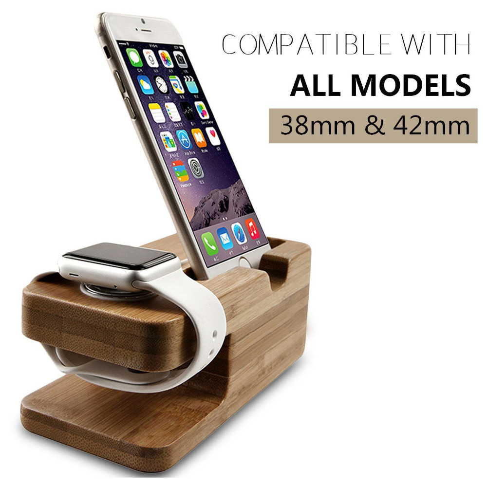 Bamboo Wood Charger Station,Stock Cradle Holder for Apple Watch 38 42mm iPhone and SamsungBamboo Wood Charger Station,Stock Cradle Holder for Apple Watch 38 42mm iPhone and Samsung