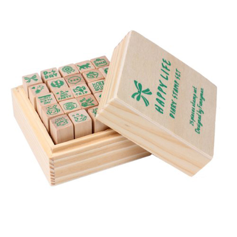 25xHappy Life diary stamp DIY rubber stamp wood stamp with ...