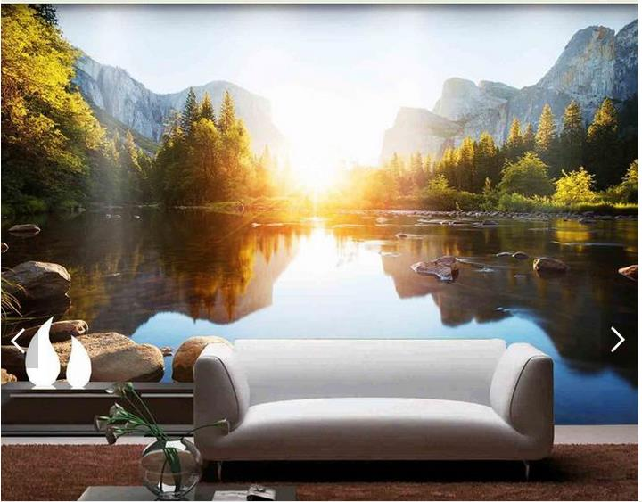Custom 3d Mural Wallpapers Hd Landscape Mountains Lake: 3D Photo Wallpaper Custom 3d Wall Mural Wallpaper Lake