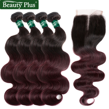T1b / 99j Ombre Human Hair Bundles Med Closure Beauty Plus Brasilian Body Wave 4 Bundler Med Closure Non Remy 4x4 Middle Brown