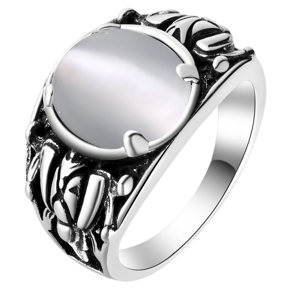 Silver Plated Large White Red Green Blue Simulated Gemstone Rings For Women  Costume Jewelry Rings Size