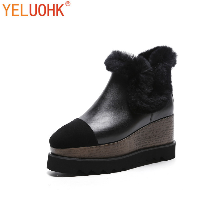 Genuine Leather Women Winter Boots Platform Winter Women Boots Female Winter Shoes Ankle Boots For Women Big Size autumn and winter new personality retro cowhide ankle boots handsome female waterproof platform genuine leather women shoes 9731