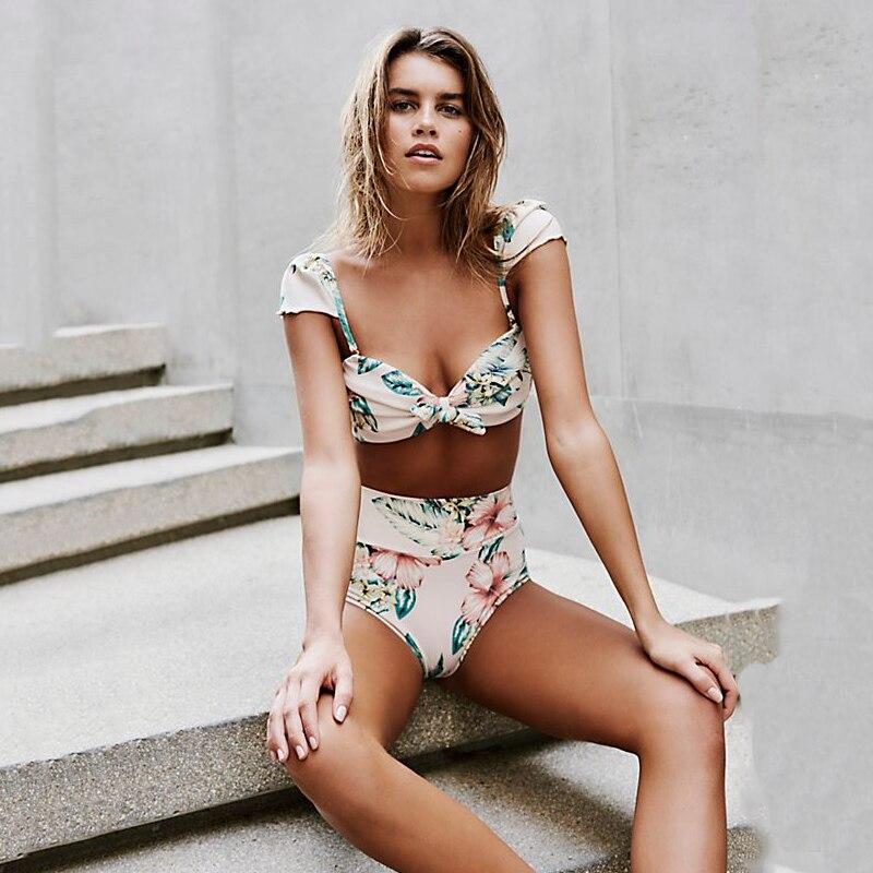 Bandeau Bikini 2018 Push Up Női fürdőruha Nyomtatás Magas derékú fürdőruha Női szexi bikini készlet nyári strand fürdőruha Monokini