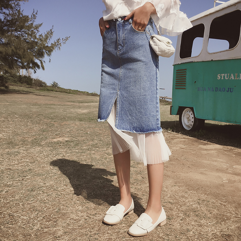 Chic Maille De Jupe Avec Femmes Jean Denim Casual Hanche Taille Blue Mode mollet Couches Mi Blanc Jupes Paquet Haute Deux A8tdYx