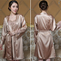 2016 Sexy Emulation Silk Lace Nightgown Sling Luxurious Temperament Robe Clothes Two Pajamas J5003
