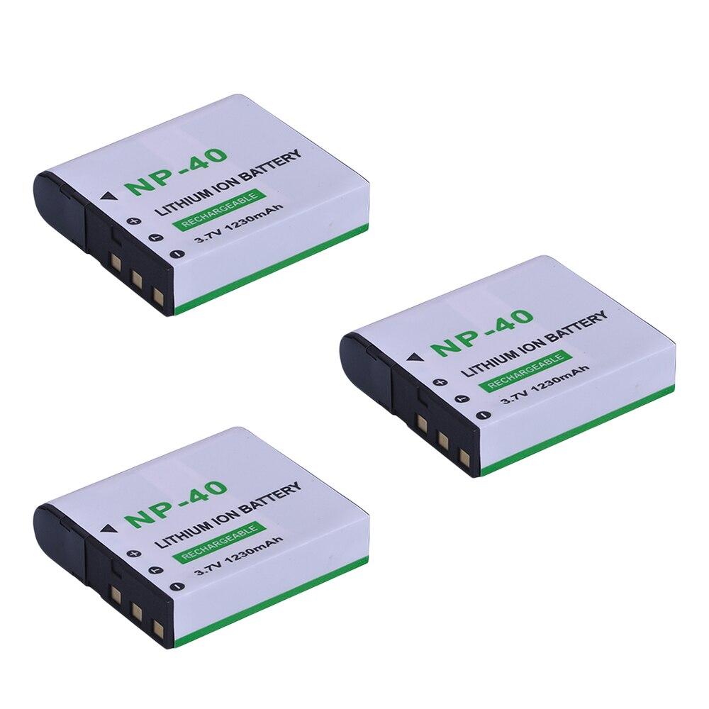 3Pcs 1230mAh NP-40 NP 40 NP40 Li-ion Battery For EX-FC100 EX-P505 EX-Z100 EXILIM EX-Z1050 EX-P600/P700 EX-Z57