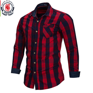 Image 4 - FREDD MARSHALL 2018 New Arrival Mens Plaid Shirt 100% Cotton Long Sleeve Casual Fashion Social Business Style Dress Shirts FM155